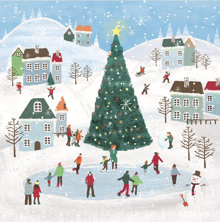 Christmas Ice Skating.Pack Of 8 Ice Skating British Heart Foundation Charity Christmas Cards