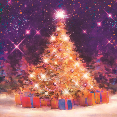 Pack of 8 Xmas Tree NSPCC Charity Christmas Cards