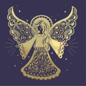 Pack of 8 Gold Angel Samaritans Charity Christmas Cards