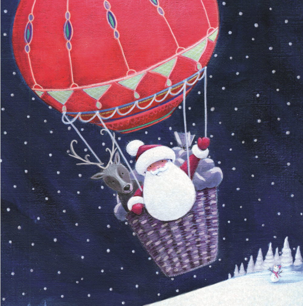 Pack of 8 Santa Hot Air Balloon NSPCC Charity Christmas Cards