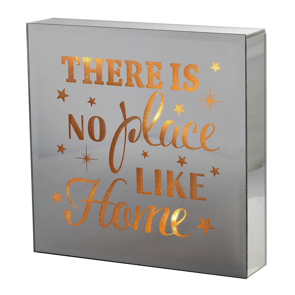 No Place Like Home Silver Glass Mirror Light Up Box Wall Plaque