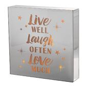 Live Laugh Love Silver Glass Mirror Light Up Box Wall Plaque