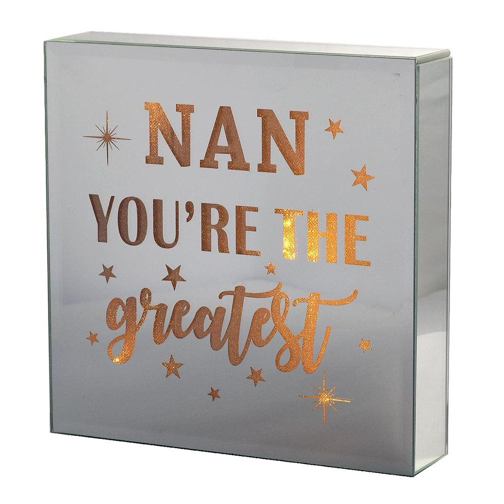 Nan You're The Greatest Silver Glass Mirror Light Up Box Wall Plaque