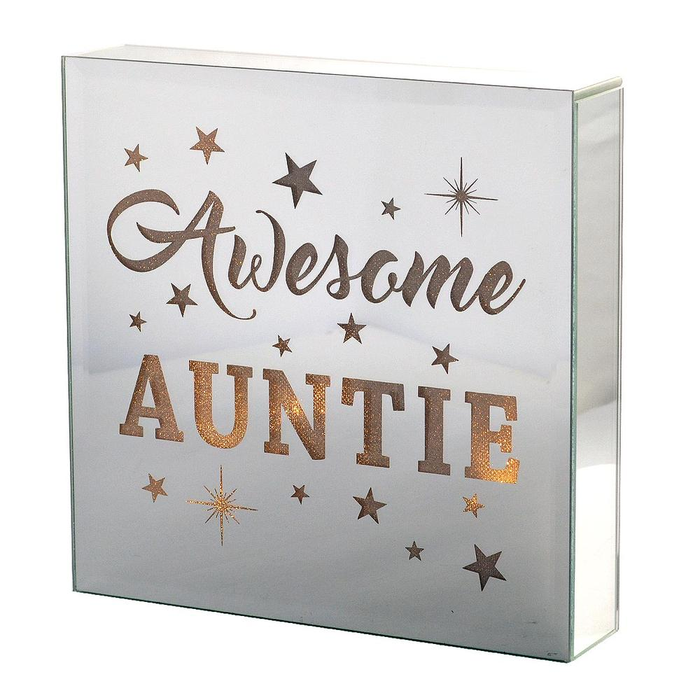 Awesome Auntie Silver Glass Mirror Light Up Box Wall Plaque