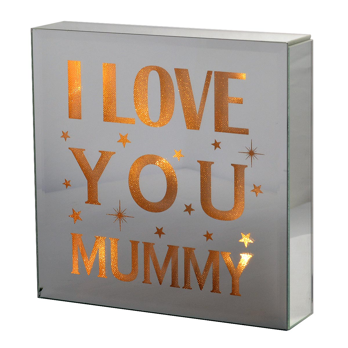 I Love You: I Love You Mummy Silver Glass Mirror Light Up Box Wall