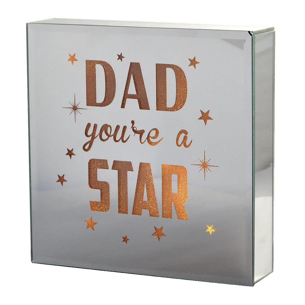 Dad You're A Star Silver Glass Mirror Light Up Box Wall Plaque
