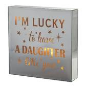 Daughter Like You Silver Glass Mirror Light Up Box Wall Plaque