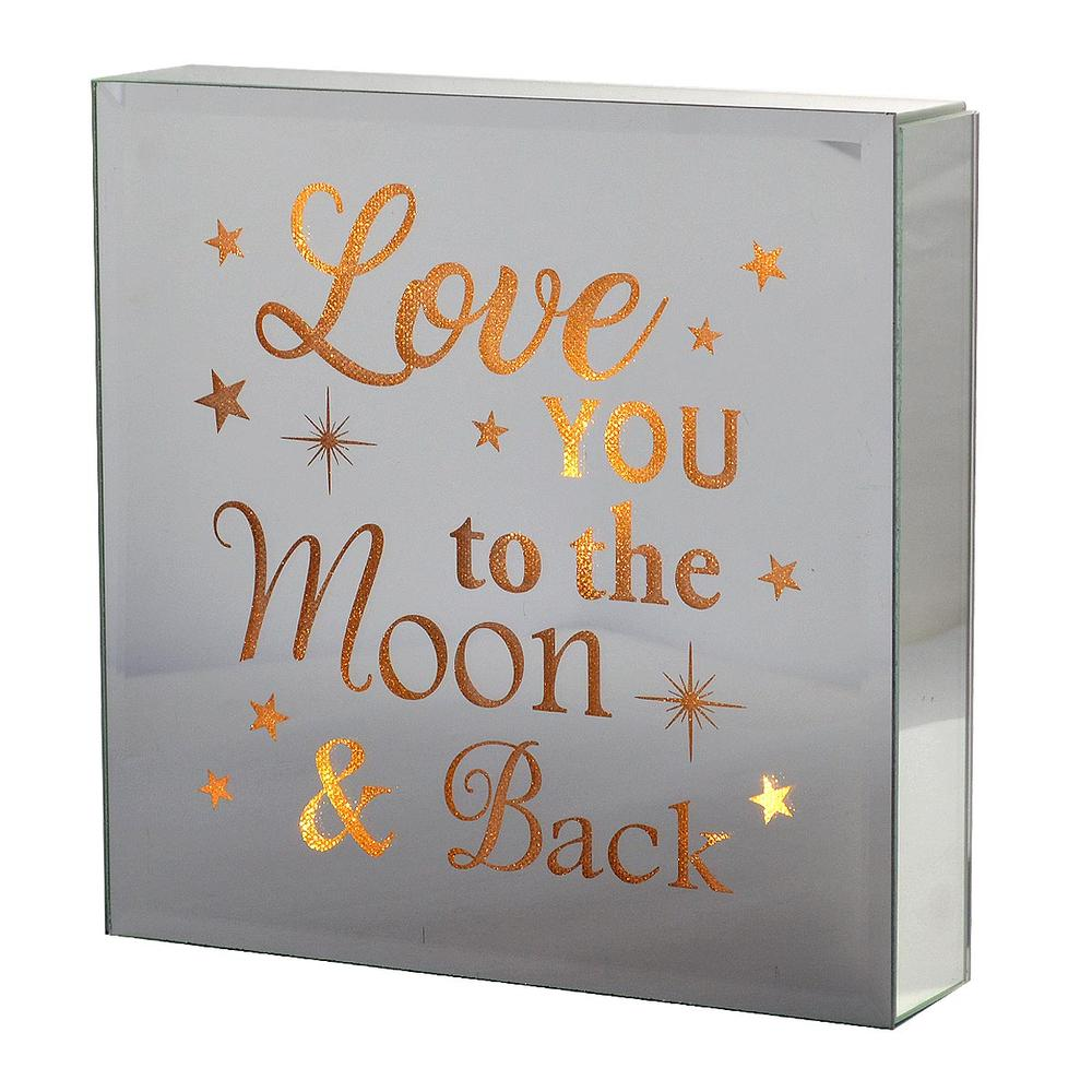 Love You To The Moon Silver Glass Mirror Light Up Box Wall Plaque