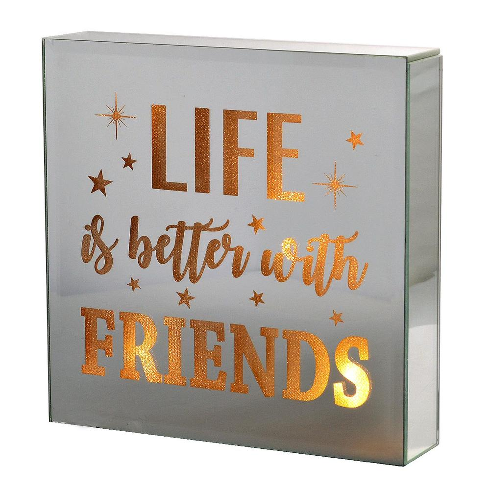 Life Better With Friends Silver Glass Mirror Light Up Box Wall Plaque