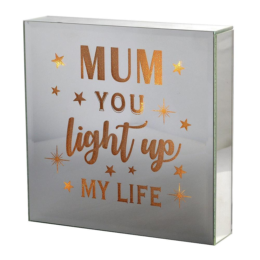 Mum You Light My Life Silver Glass Mirror Light Up Box Wall Plaque