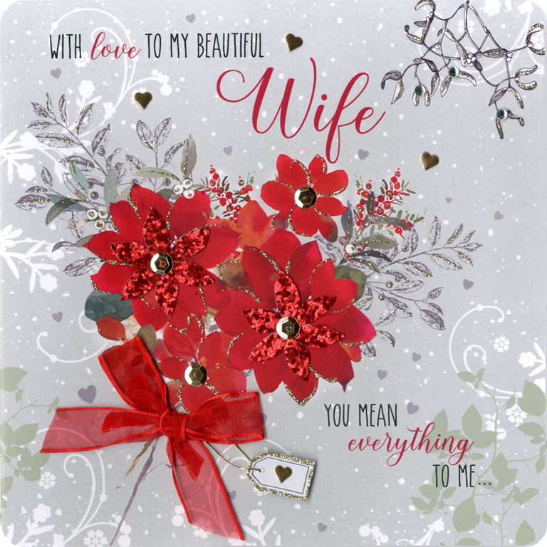 Boxed Beautiful Wife Special Luxury Handmade Christmas Card Cards