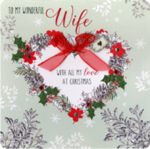 Boxed Wonderful Wife Special Luxury Handmade Christmas Card