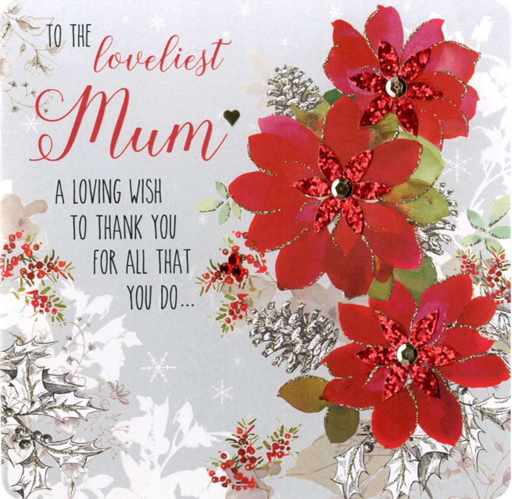 Boxed Loveliest Mum Special Luxury Handmade Christmas Card Cards