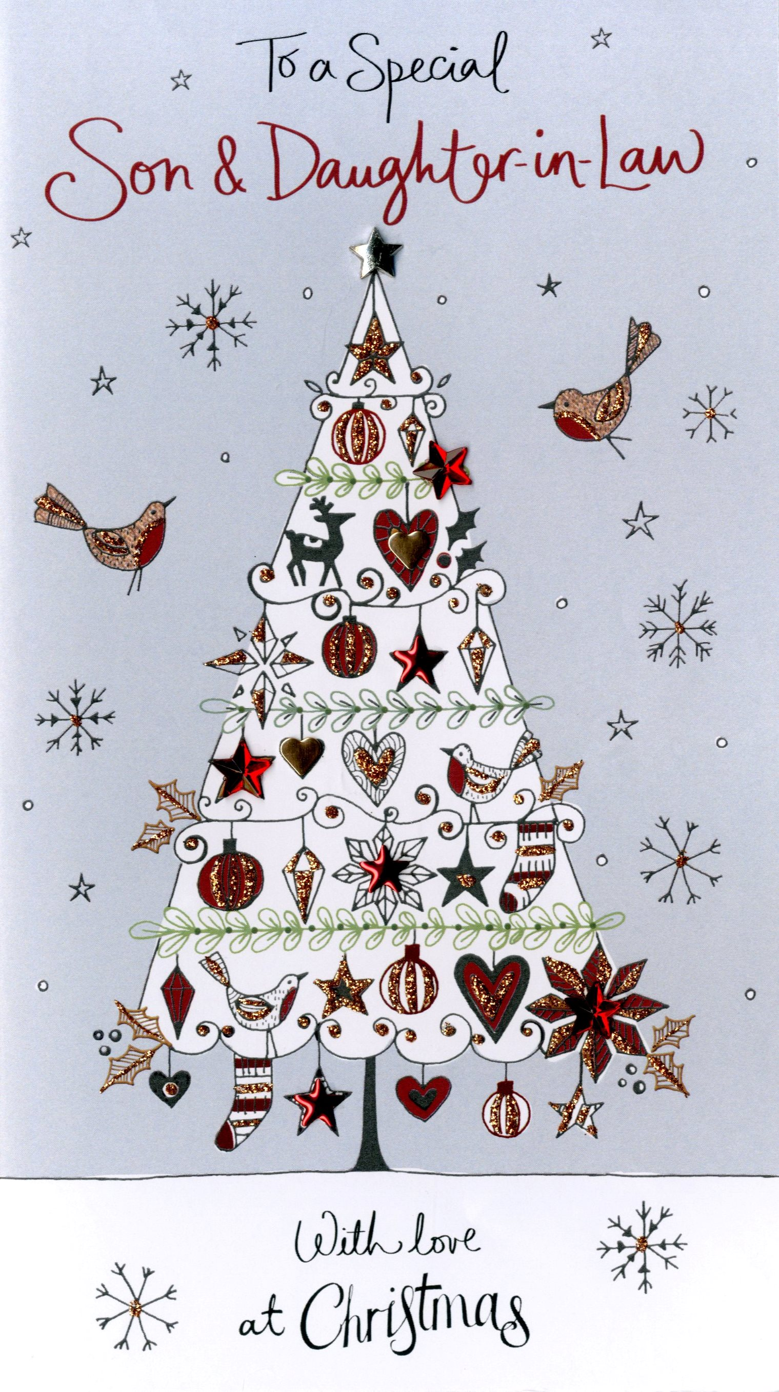 Son & Daughter-In-Law Embellished Christmas Card | Cards | Love Kates