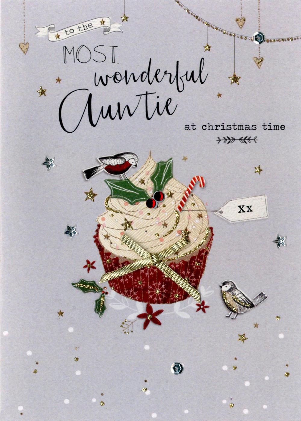 Wonderful Auntie Embellished Christmas Card