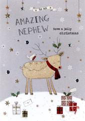 Amazing Nephew Embellished Christmas Card
