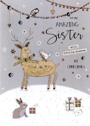 Amazing Sister Embellished Christmas Card