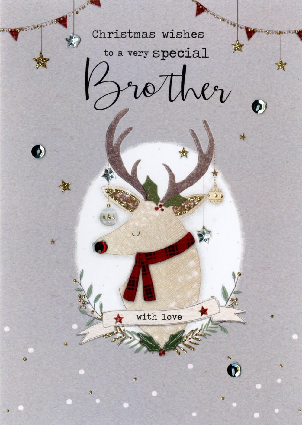 Special Brother Embellished Christmas Card