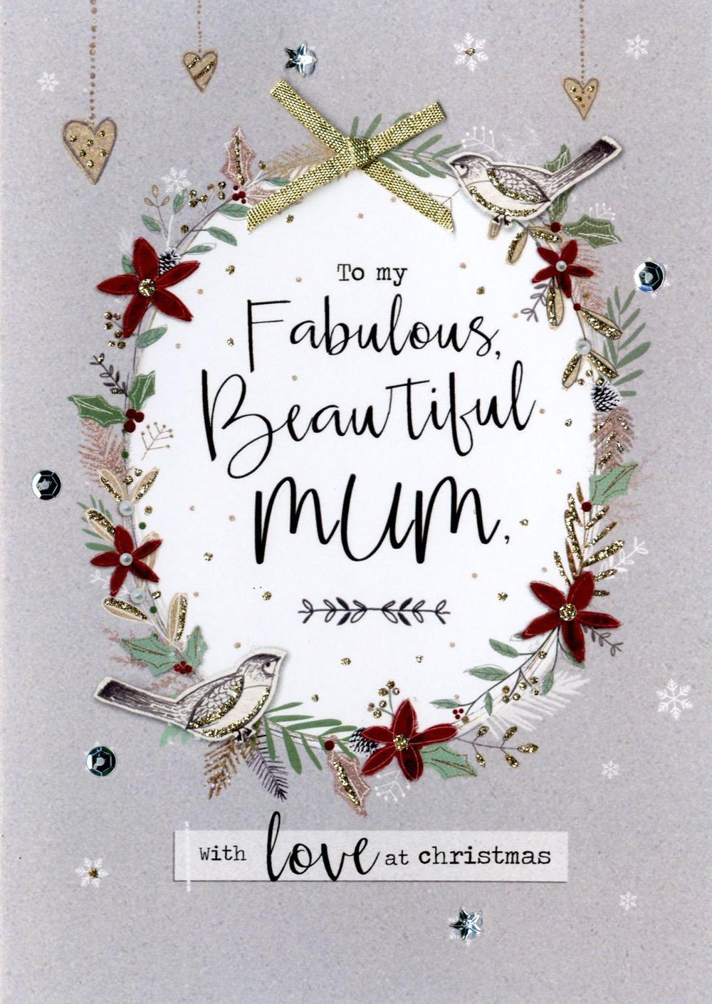 Beautiful Mum Embellished Christmas Card