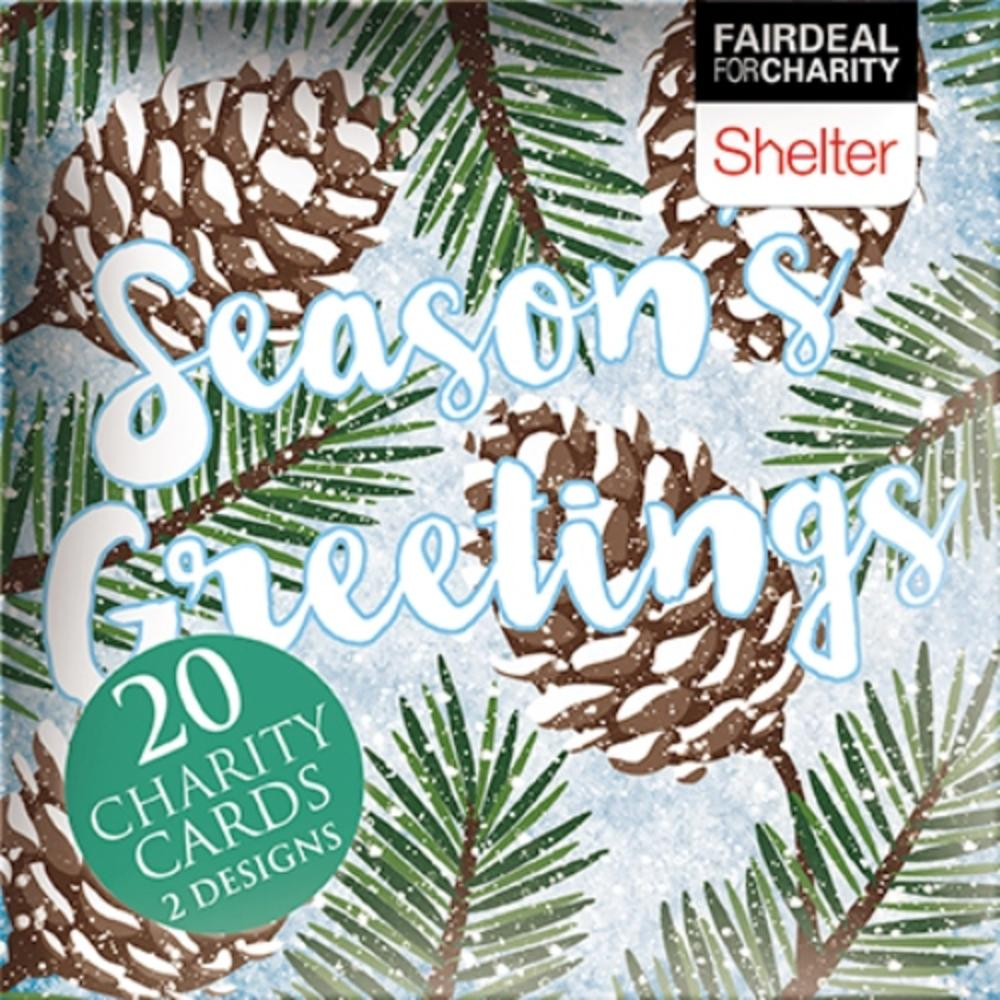 Box of 20 Season's Greetings Shelter Charity Christmas Cards