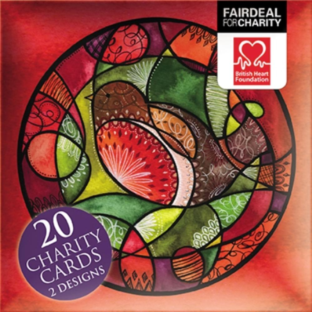 Box of 20 Stained Glass British Heart Foundation Charity Christmas Cards