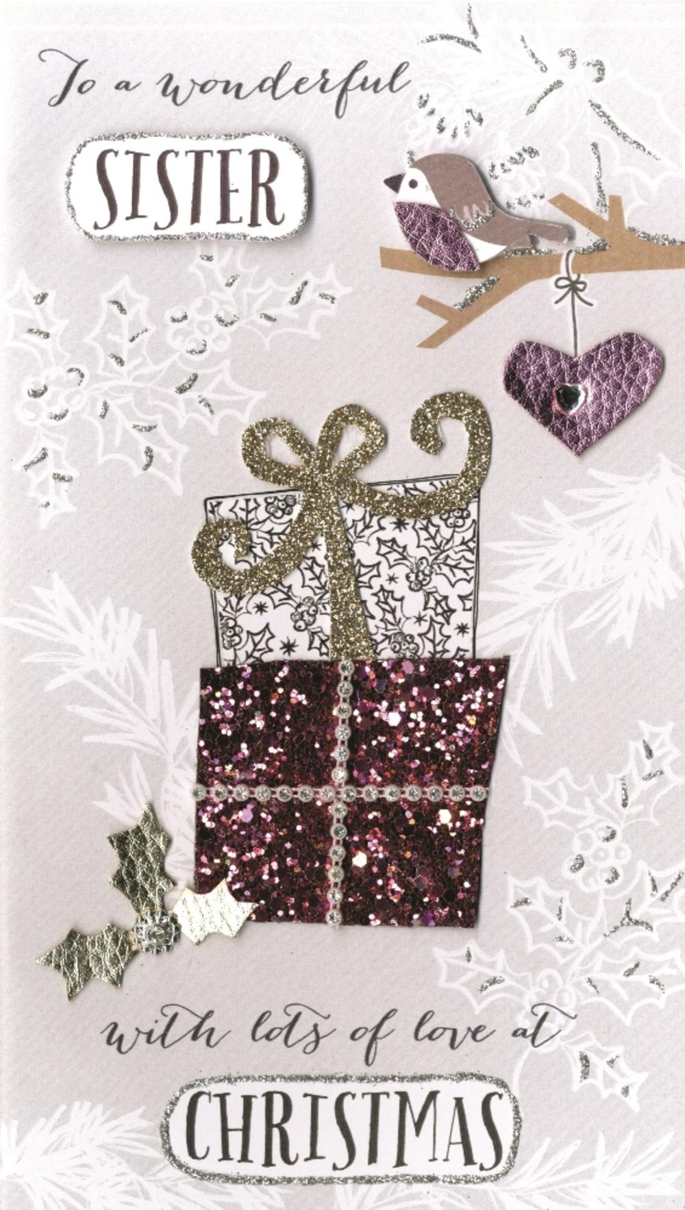 Wonderful Sister Embellished Christmas Card