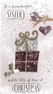 Wonderful Sister Embellished Christmas Card