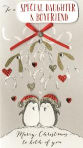 Daughter & Boyfriend Embellished Christmas Card