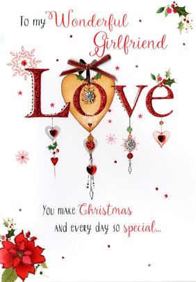 Wonderful Girlfriend Embellished Christmas Card