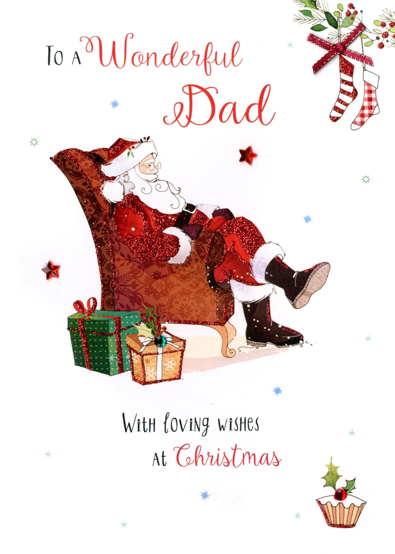 Wonderful Dad Embellished Christmas Card   Cards
