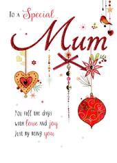 Special Mum Embellished Christmas Card