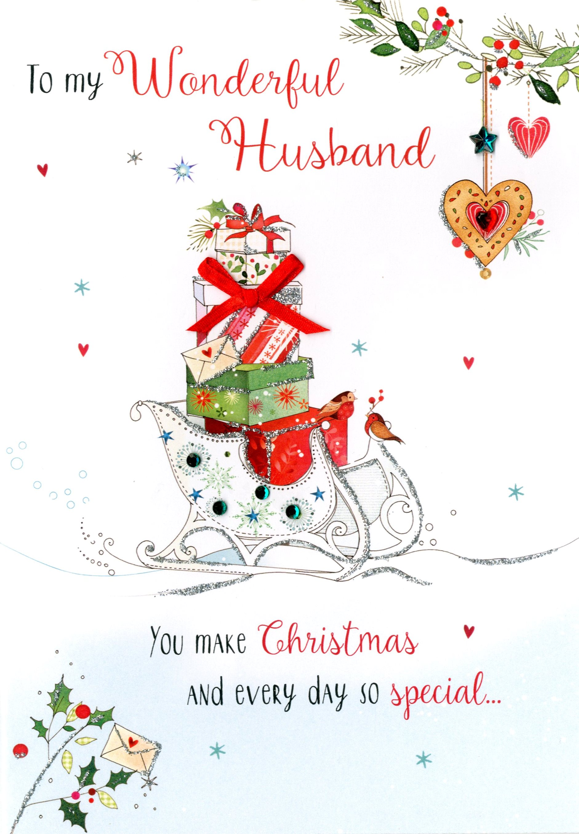 Husband Christmas Cards.Wonderful Husband Embellished Christmas Card