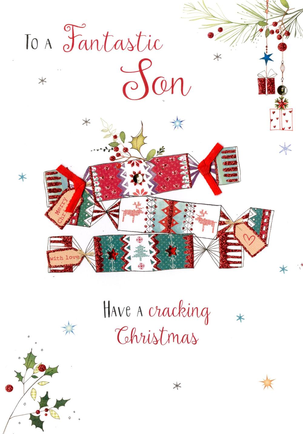 Fantastic Son Embellished Christmas Card