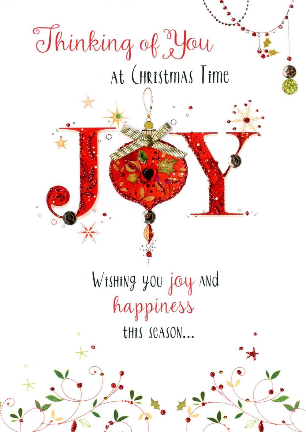 Thinking Of You Embellished Christmas Card