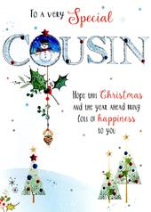 Special Cousin Embellished Christmas Card