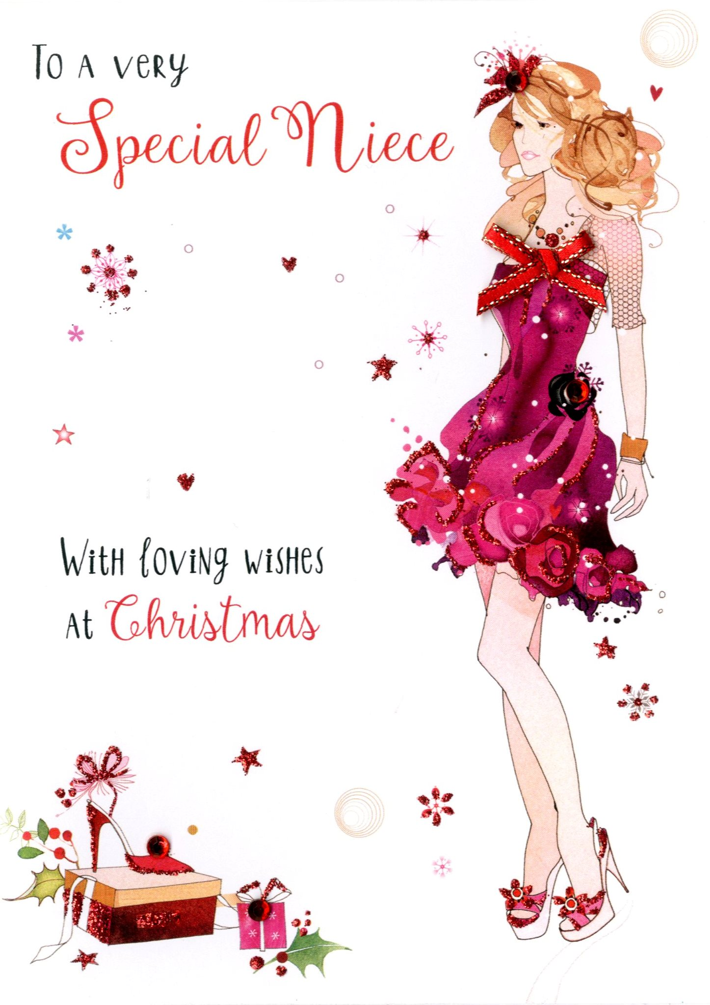 Special Niece Embellished Christmas Card Hand Finished Bonne Fete