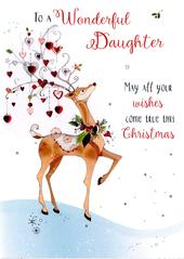 Wonderful Daughter Embellished Christmas Card