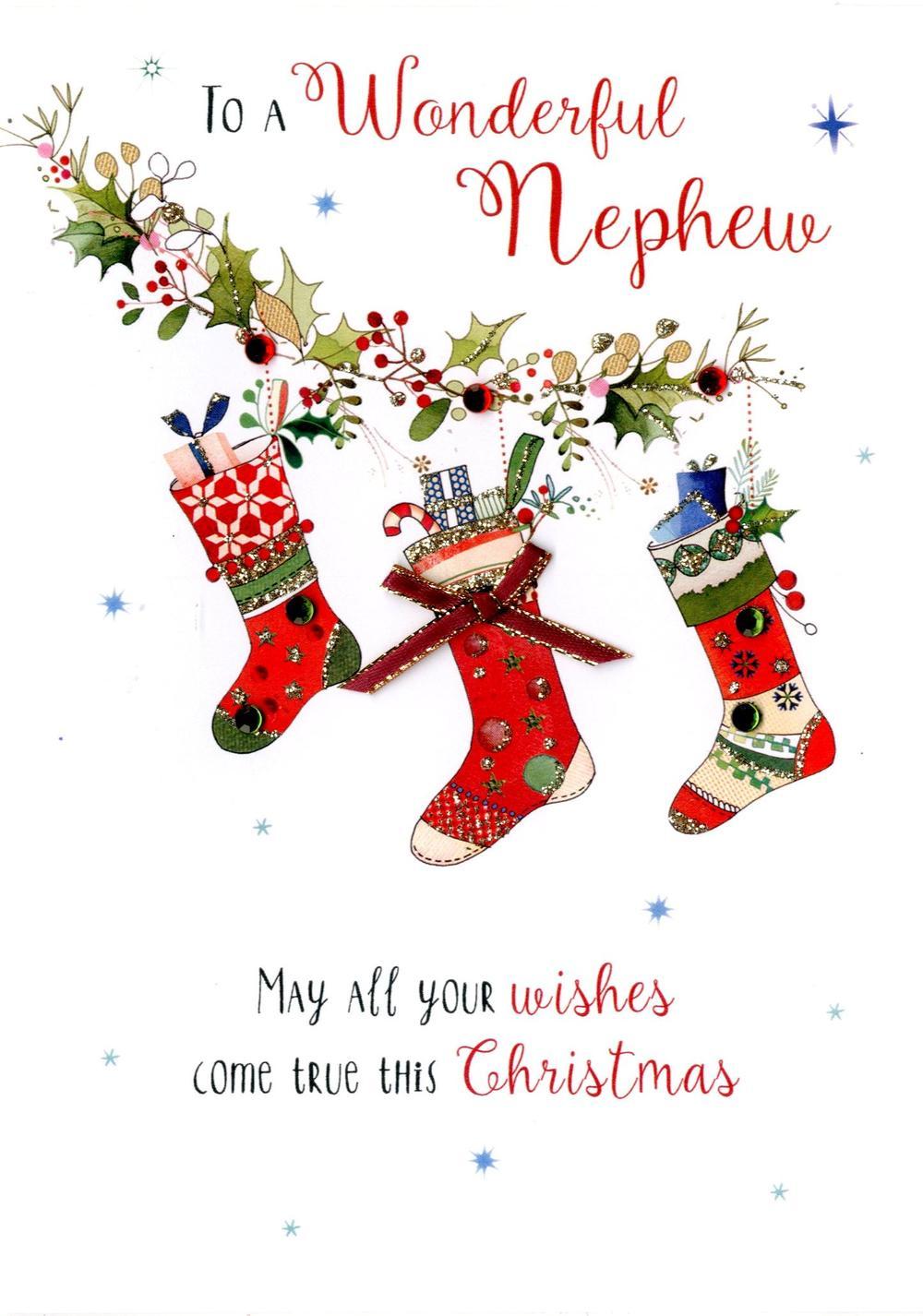 Wonerful Nephew Embellished Christmas Card