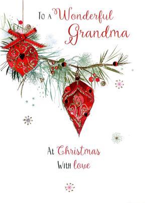Wonderful Grandma Embellished Christmas Card