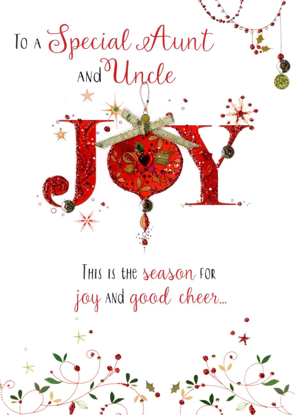Aunt & Uncle Embellished Christmas Card