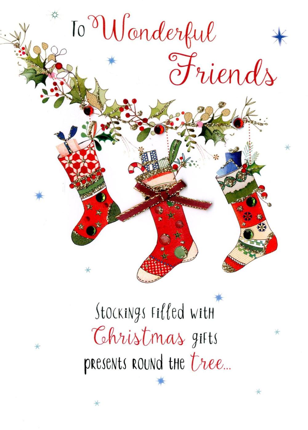 Wonderful Friends Embellished Christmas Card