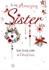 Amazing Sister Embellished Christmas Card