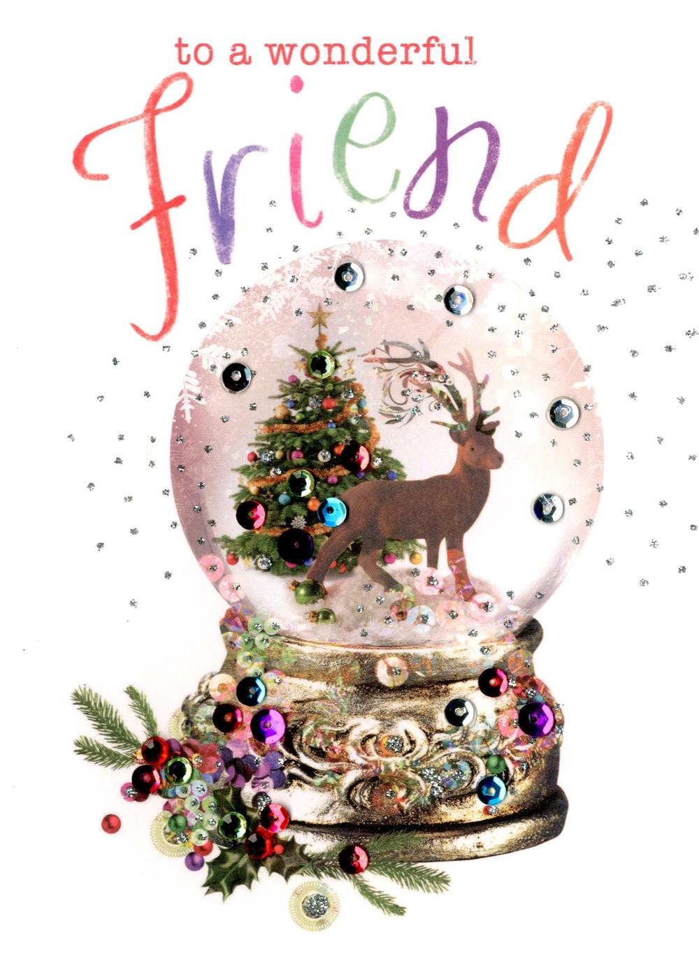 Wonderful Friend Embellished Christmas Card