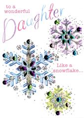 Wonderful Daughter Embellished Christmas Card