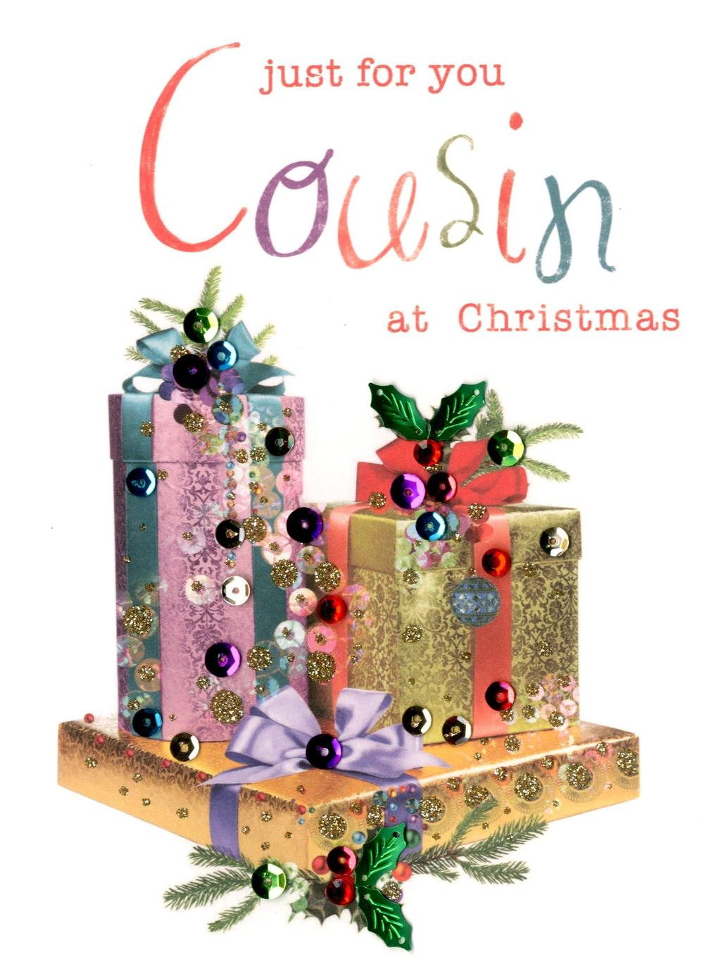 For You Cousin Embellished Christmas Card