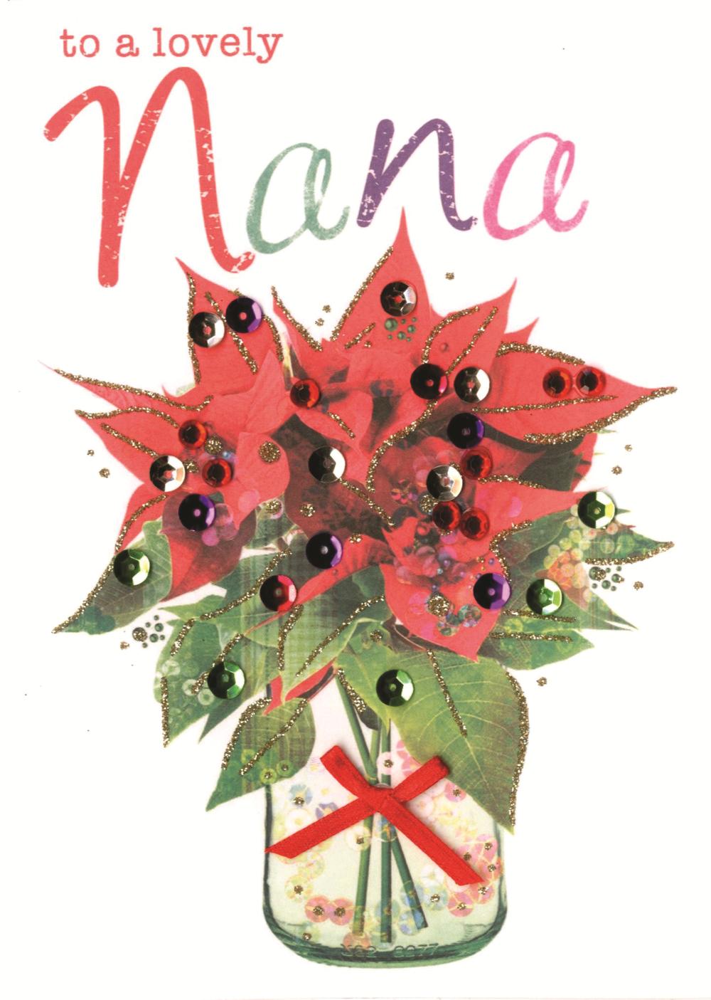 Lovely Nana Embellished Christmas Card