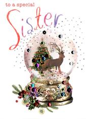 Special Sister Embellished Christmas Card
