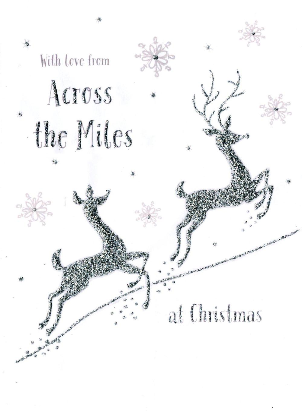 Across the Miles Christmas Card With Reindeers