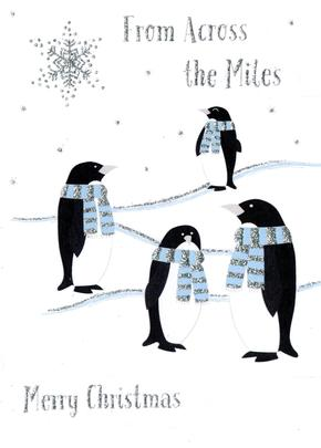 Across the Miles Christmas Card With Penguins