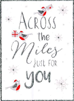 Across the Miles Christmas Card With Robins